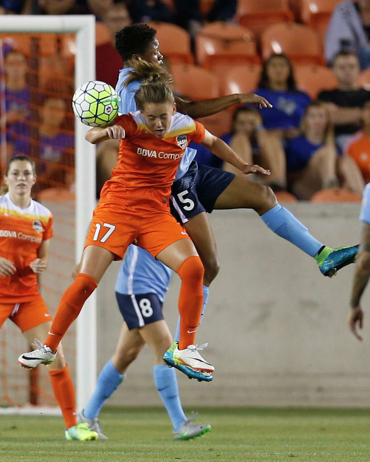 Houston Dash midfielder Andressa Machry (17) battles against Sky Blue FC forward Maya Hayes (5) during the first half of a National Women's Soccer League game at BBVA Compass Stadium, Friday, April 29, 2016, in Houston.