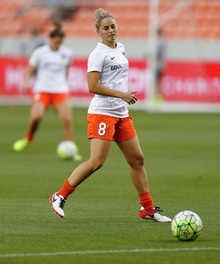 Houston Dash defender Ellie Brush (8) before the start of a National Women's Soccer League game at BBVA Compass Stadium, Friday, April 29, 2016, in Houston. Photo: Karen Warren, Staff / © 2016 Houston Chronicle
