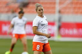 Houston Dash defender Ellie Brush (8) before the start of a National Women's Soccer League game at BBVA Compass Stadium, Friday, April 29, 2016, in Houston.