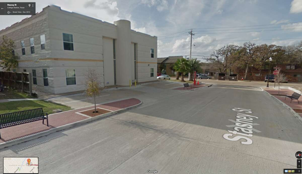 A screenshot of a Google Street View image of the 400 block of Stasney Street in College Station, Texas. In the early morning hours of July 7, 2016, the Islamic Community Center received gunfire. No one was injured in the shooting.