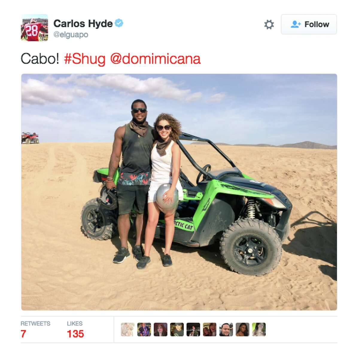 Running back Carlos Hyde spent time in Cabo.