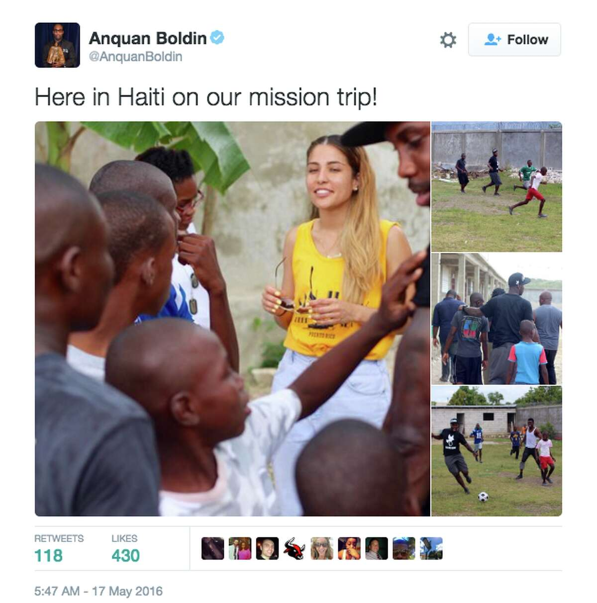 Anquan Boldin and members of his family went to Haiti on a mission trip to help underprivileged youth.