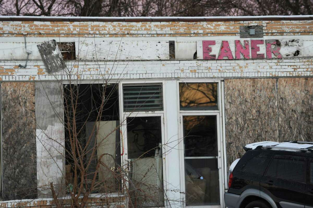 Former Damshire Cleaners on Central Ave. on Tuesday, Jan. 13, 2015 in Colonie, N.Y. DEC investigated a toxic underground plume of dry cleaning fluid that appeared to be moving southeast under Central Avenue toward homes and businesses. (Lori Van Buren / Times Union)