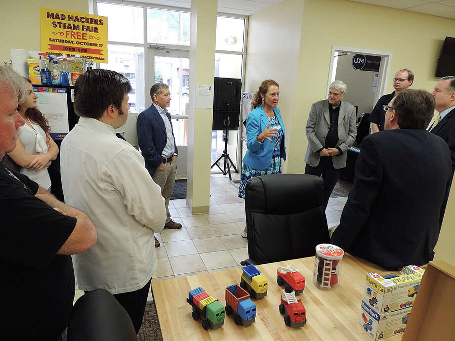Congresswoman Elizabeth Esty, D-5, visits the Danbury Hackerspace in summer 2016. Photo: Contributed Photo
