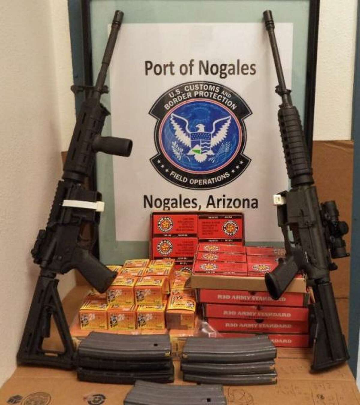 U.S. Customs and Border Protection stopped a 24-year-old man from entering Mexico at the port of entry in Nogales, Arizona, June 29, 2016. The man allegedly had more than 2,000 rounds of ammunition and a pair of AR-15s.