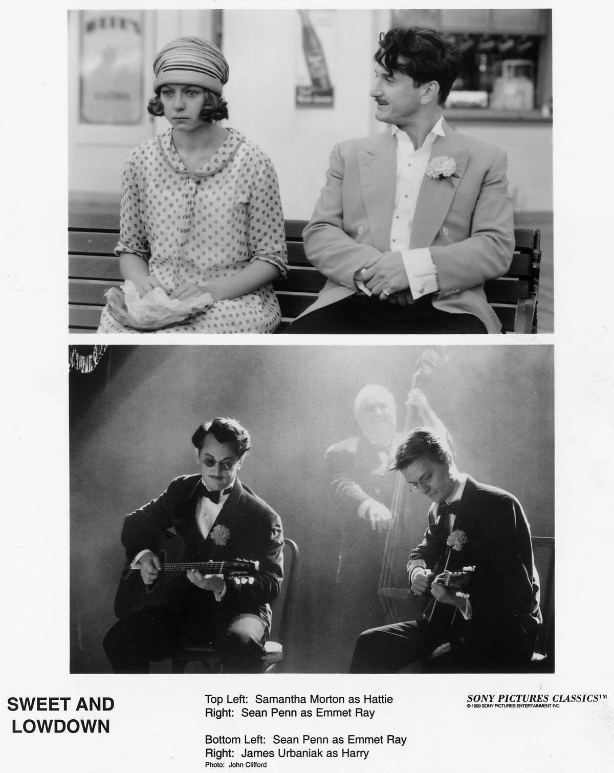 """SWEET AND LOWDOWN - Top Left: Samantha Morton as Hattie. Right: Sean Penn as Emmet Ray. Bottom Left: Sean Penn as Emmet Ray. Right: James Urbaniak as Harry. Photo: John Clifford. Sony Pictures Classics. HOUCHRON CAPTION (01/27/2000): Emmet Ray (Sean Penn, right) doesn't know how to express his feelings for Hattie (Samantha Morton) in """"Sweet and Lowdown."""""""