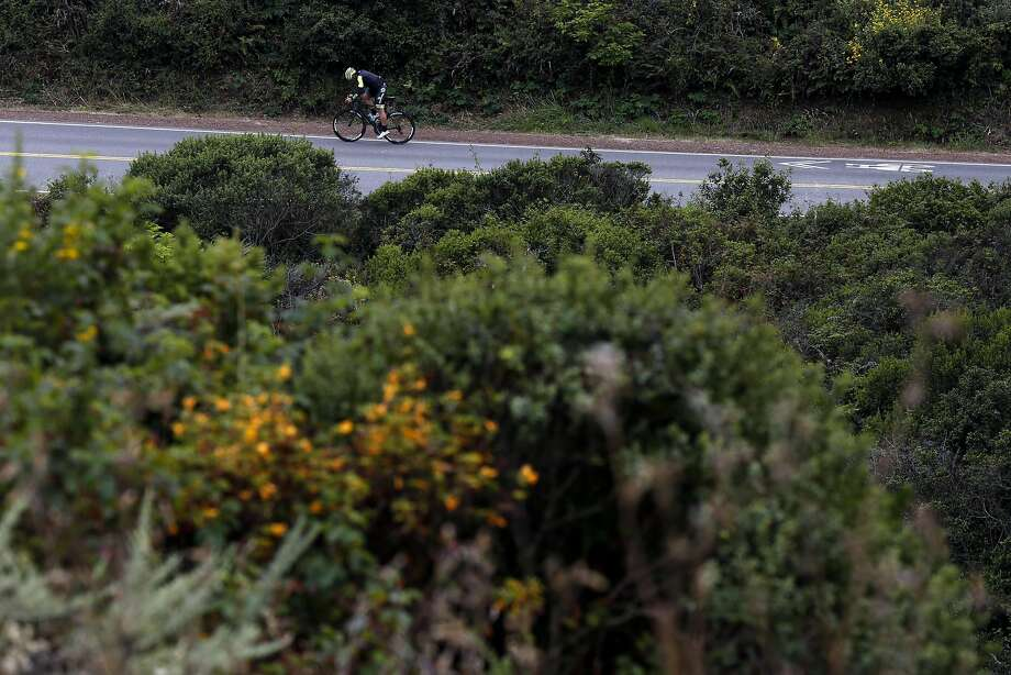 Matthew Accarrino bikes up McCullough Road during interval training in Sausalito, California, on Wednesday, July 6, 2016. Photo: Connor Radnovich, The Chronicle