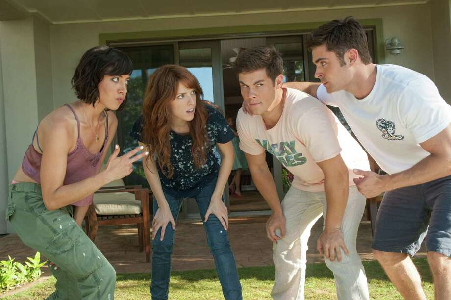 """In this image released by 20th Century Fox, from left, Aubrey Plaza, Anna Kendrick, Adam Devine and Zac Efron appear in a scene from the film, """"Mike and Dave Need Wedding Dates."""" (Gemma LaMana/20th Century Fox via AP) ORG XMIT: NYET221 Photo: Gemma LaMana / 20th Century Fox"""