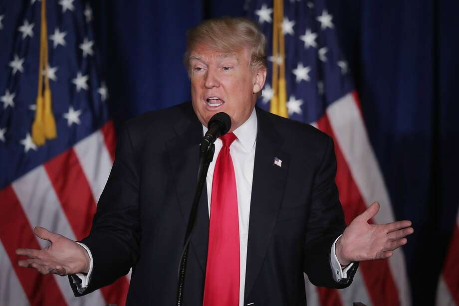 "WASHINGTON, DC - APRIL 27:  Republican presidential candidate Donald Trump delivers a speech about his vision for foreign policy at the Mayflower Hotel April 27, 2016 in Washington, DC. A real estate billionaire and reality television star, Trump beat his GOP challengers by double digits in Tuesday's presidential primaries in Pennsylvania, Maryland, Deleware, Rhode Island and Connecticut. ""I consider myself the presumptive nominee, absolutely,"" Trump told supporters at the Trump Tower following yesterday's wins.  (Photo by Chip Somodevilla/Getty Images) Photo: Chip Somodevilla, Getty Images"