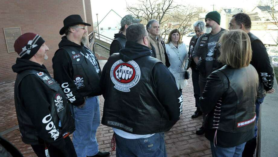 About a dozen members of Bikers Against Child Abuse gathered at state Superior Court in Danbury, Conn., Wednesday, Jan. 20, 2016, to support the family of three children authorities said were abused by a nanny last March. Photo: Carol Kaliff / Hearst Connecticut Media / The News-Times