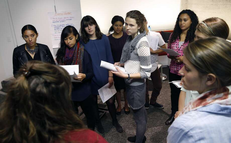 Incoming special education instructors attend a training session by Teach for America educator coach Jennifer Tschetter (lower left) and alumni educator Jennifer Camus (second from left) in San Francisco, Calif. on Thursday, July 7, 2016. Photo: Paul Chinn, The Chronicle