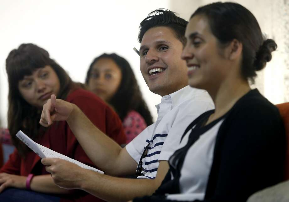 Incoming special education instructors are trained by Teach for America educator coaches Jennifer Tschetter (left), and Gabriel Rodriguez (center) and local TFA director Beatrice Viramontes (right) in San Francisco, Calif. on Thursday, July 7, 2016. Photo: Paul Chinn, The Chronicle