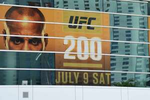 A banner for UFC 200 at T-Mobile Arena shows half of an image of mixed martial artist Daniel Cormier and a blank space where an image of mixed martial artist Jon Jones had been displayed on July 7, 2016 in Las Vegas. On July 6, Jones was pulled from his light heavyweight title fight against Cormier due to a potential violation of the UFC's anti-doping policy.
