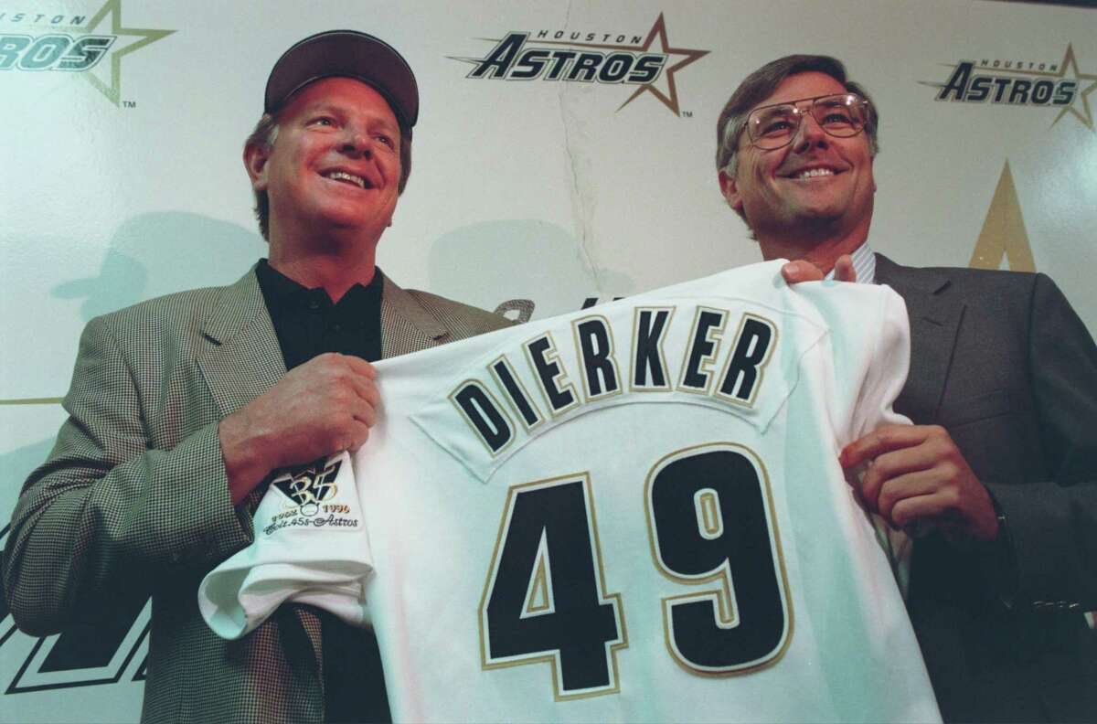 (10/04/96) Larry Dierker jokes at a news conference Friday where it was announced he will become the 12th manager of the Astros in the franchise's 35-year history. Dierker, a former pitcher who played 13 seasons with the Astros, replaces Terry Collins, who was fired Friday. (Carlos Rios/Houston Chronicle).