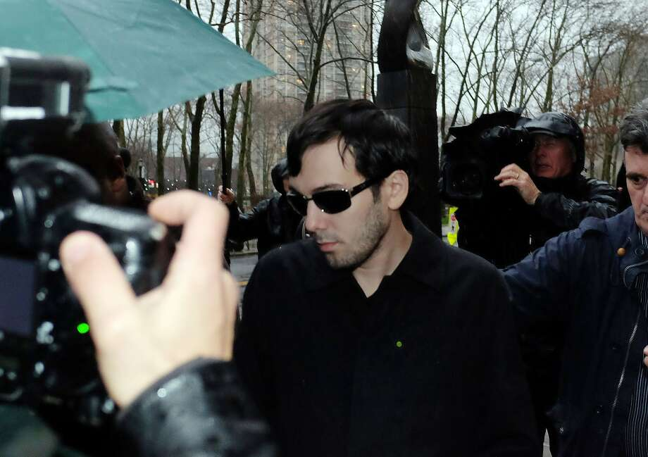 (FILES) - A file picture taken on  December 17, 2015, shows Martin Shkreli, a former hedge fund manager and Chief Executive Officer of Retrophin, as he leaves the federal court after getting bail, in New York. The controversial US pharma boss and hedge fund figure Martin Shkreli has been fired as CEO of KaloBios Pharmaceuticals following his arrest on fraud charges, the firm said December 21, 2015. AFP PHOTO/JEWEL SAMAD JEWEL SAMAD/AFP/Getty Images Photo: JEWEL SAMAD, AFP / Getty Images