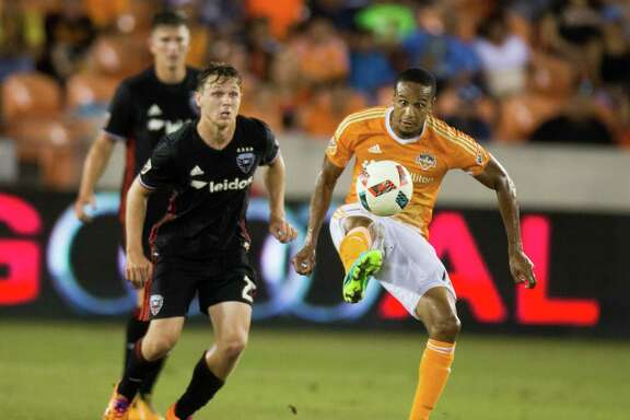 Houston Dynamo midfielder Ricardo Clark (13) stops the ball against the D.C. United during the first half of action between the Houston Dynamo and the D.C. United during a soccer game at BBVA Compass, Saturday, June 18, 2016, in Houston.  Houston Dynamo tied D.C. United 0-0. ( Juan DeLeon / for the Houston Chronicle )