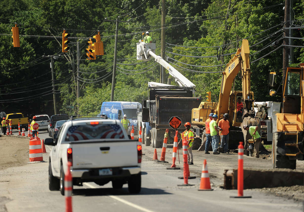 Road construction on Route 67 in front of the new Oxford Town Center/Quarry Walk project that includes a new supermarket in Oxford, Conn. on Wednesday, July 6, 2016.