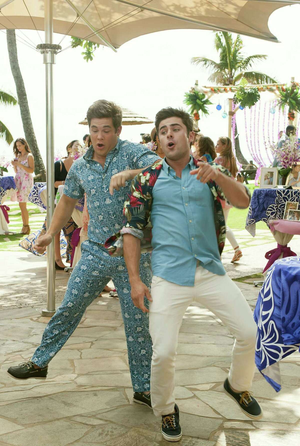 """Art only partially imitated life in """"Mike and Dave Need Wedding Dates,"""" starring Adam Devine, left, and Zac Efron. But the film accurately captured the family dynamics, real-life brother Dave Stangle says."""