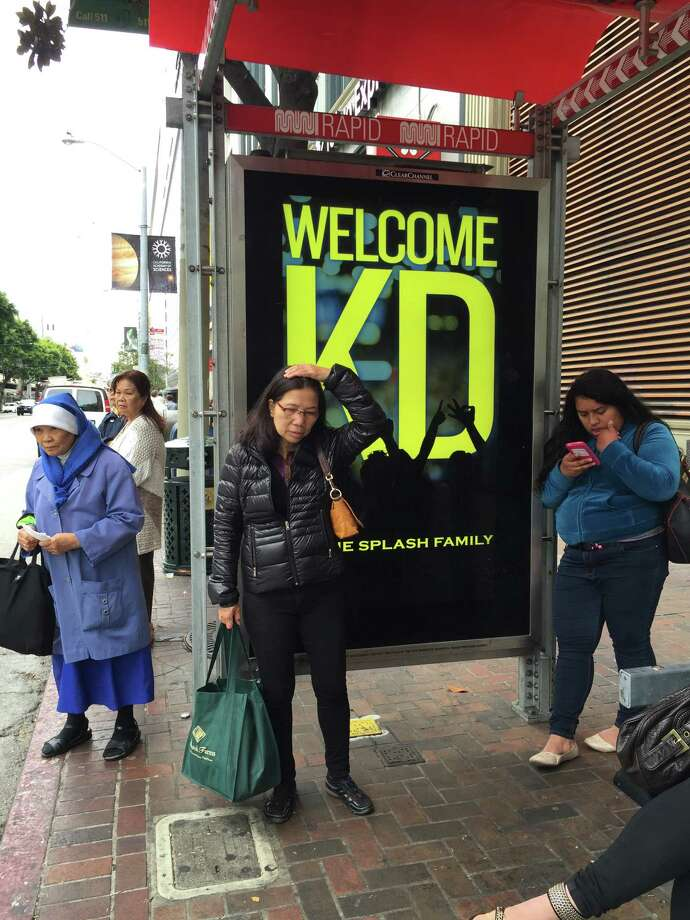 More than 80 digital bus posters welcoming Kevin Durant to the Warriors went up around San Francisco on Thursday. Photo: Kimberly Veklerov / The Chronicle