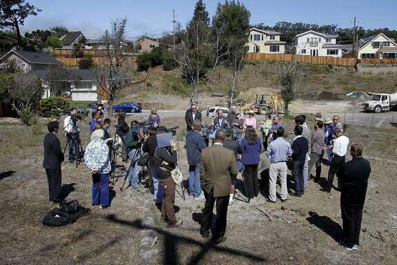 Neighbors and the media listened to Assemblyman Jerry Hill speak on a now empty lot just yards away from where the pipeline erupted. As the second anniversary of the PG&E gas pipeline disaster in San Bruno, Calif. approaches, some neighborhood residents gathered with local politicians to talk about pipeline safety Tuesday September 4, 2012.