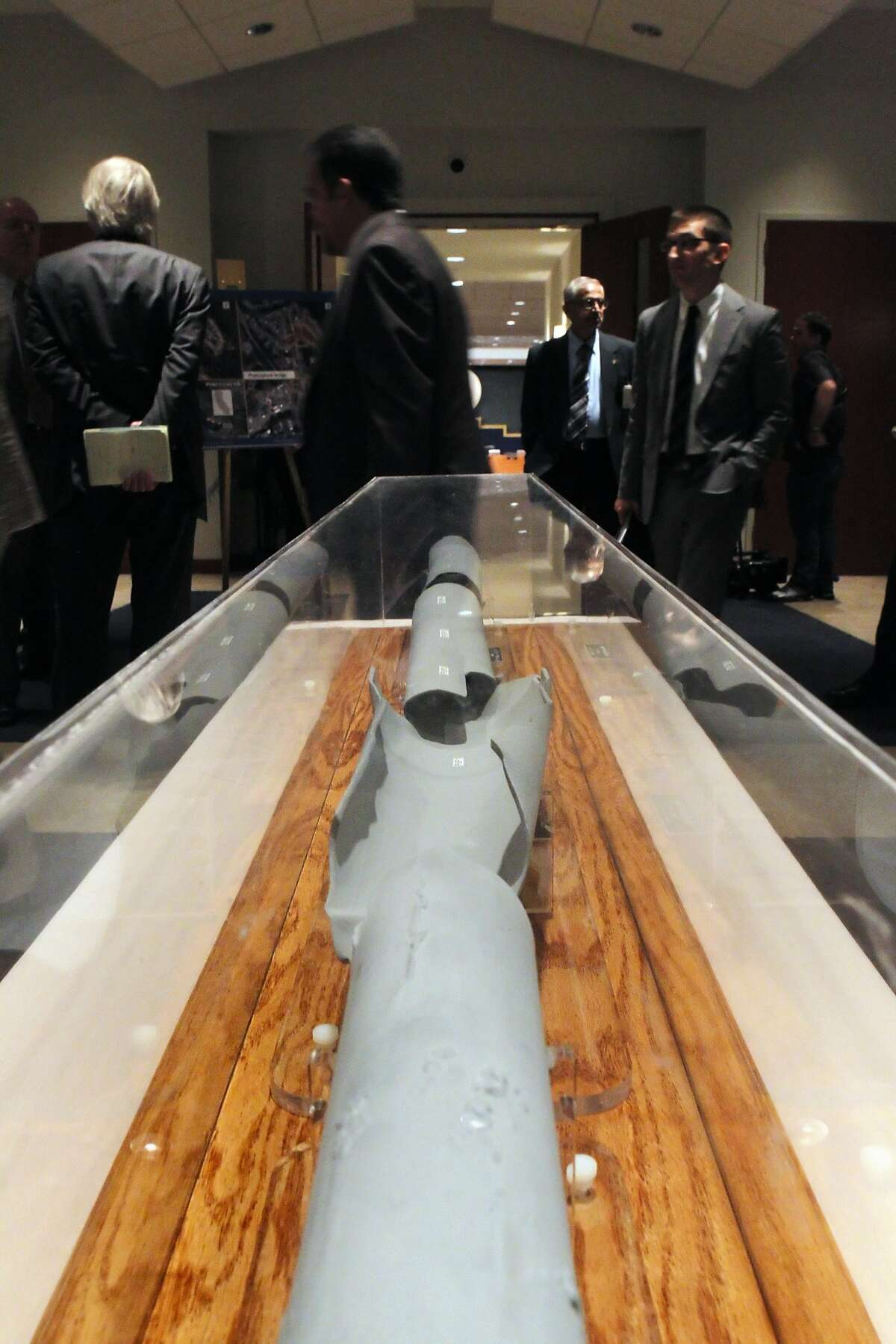 A scale model of the burst pipeline from San Bruno was on exhibit during the NTSB hearings on the 2010 PG&E pipeline blast in Washington DC, on Tuesday, August 30, 2011.