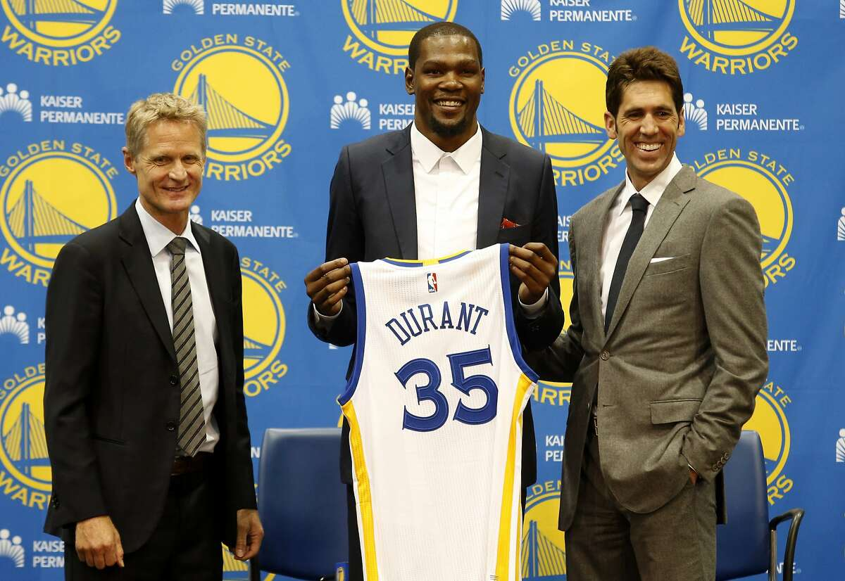 """Loaded Warriors visit twice Houston's first look at the NBA""""s new superteam will come Jan. 20 (their other visit is March 28). With Kevin Durant joining Stephen Curry, Klay Thompson, Draymond Green and Andre Iguodala, that's a lot of star power on the court. Expect the bandwagon Warriors fans to be out in full force for Golden State's visits."""