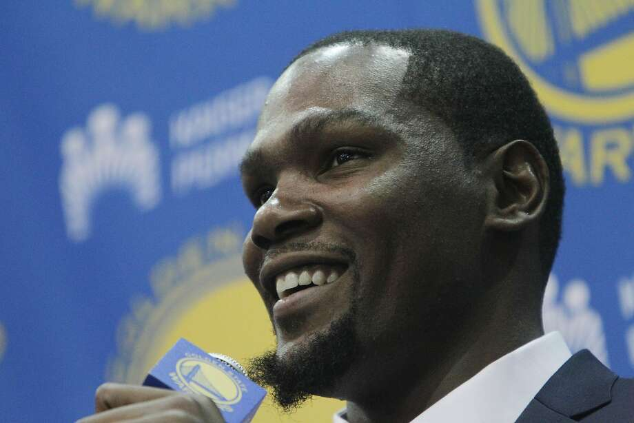 Kevin Durant speaks during the introductory press conference for Durant at the Warriors practice facility on�Thursday, July 7, 2016 in Oakland, California. Photo: Lea Suzuki, The Chronicle