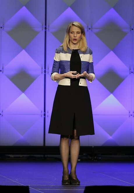 Yahoo CEO Marissa Mayer delivers the keynote address Thursday, Feb. 18, 2016, at the Yahoo Mobile Developer Conference in San Francisco.  Photo: Eric Risberg, AP