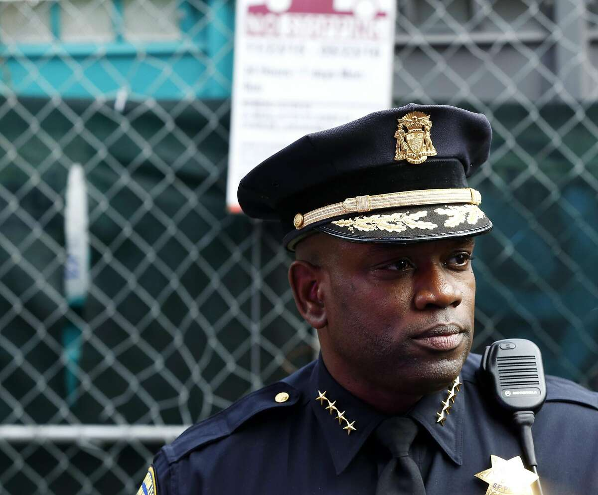Acting San Francisco Chief of Police Toney Chaplin speaks to the media and community members after a standoff in San Francisco, California, on Wednesday, July 6, 2016.