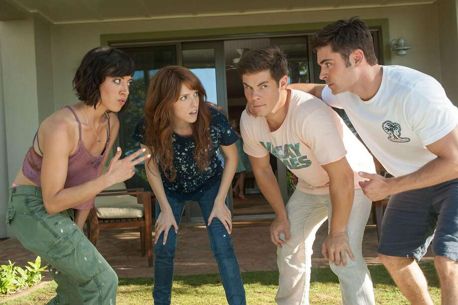 "Aubrey Plaza (left), Anna Kendrick, Adam Devine and Zac Efron in ""Mike and Dave Need Wedding Dates."" Photo: Gemma LaMana, Associated Press"