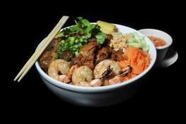 Vermicelli rice noodle bowl with grilled pork, shrimp and egg