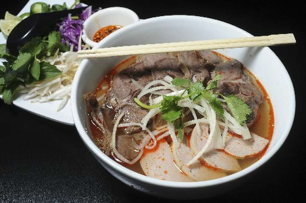 Spicy Vietnamese Hue-style beef noodle soup at Heavenly Pho.