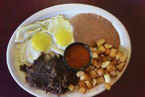 The barbacoa and eggs plate is a favorite at Sazon Mexican Cafe, which has won the Readers Choice for Best Mexican food.