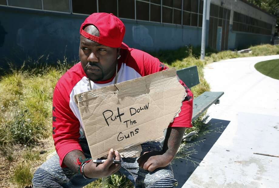 Mistah F.A.B., in Oakland last month, decries violence. Photo: Paul Chinn, The Chronicle