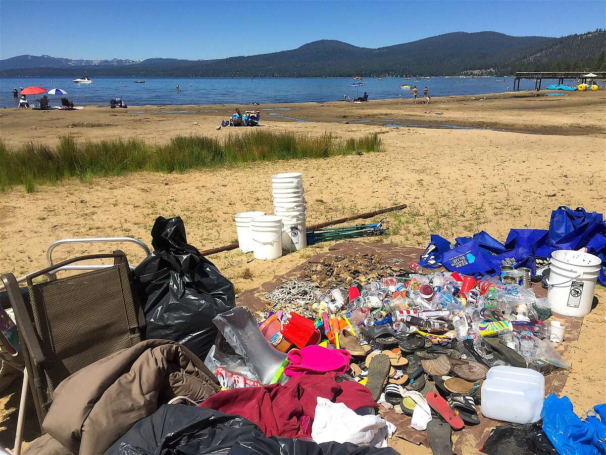 A pile of trash collected at Kings Beach at Agate Bay at North Lake�Tahoe�after 4th of July. The League to Save Lake�Tahoe picked up 26,748 articles of trash at five beaches after 4th of July, including 7,738 cigarette butts.