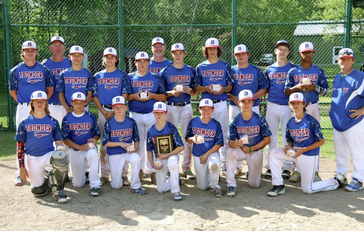 """The Stamford Thunder 13U Babe Ruth Baseball All-Stars celebrate after winning the Dan Duquette Academy """"Stars and Stripes Shoot Out"""" during July 4th weekend in Hinsdale, Mass. The Thunder won five games over three days over the weekend to capture the ?""""Stars and Stripes Shoot Out.?"""" The Stamford 13s are the host team at the 2016 Babe Ruth 13s Connecticut State Tournament to be played at Cubeta Stadium July 8-15."""