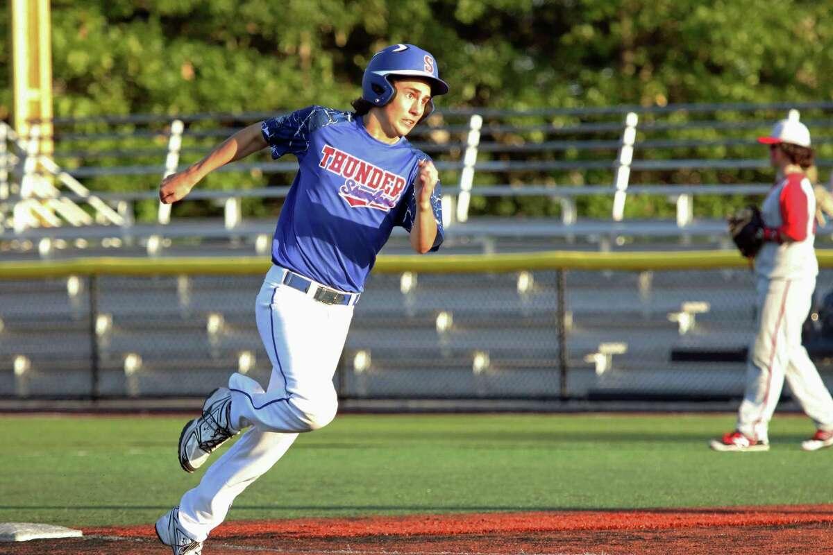 Stamford?'s Jay Lockwood rounds third base during the Baseball Heaven tournament in Yaphauk, Long Island on June 29.