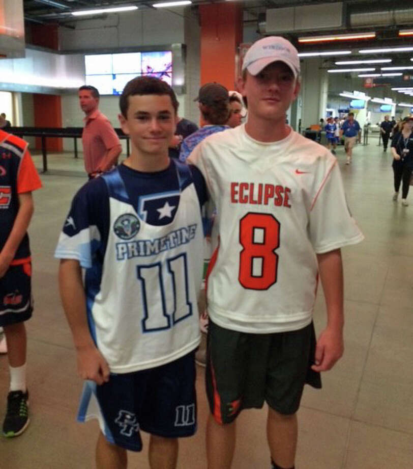 Greenwich residents Jeffrey Matthews, left, and Mike Frechette each competed in the World Series of Lacrosse U13 Championships recently in Denver, Colo. Matthews, a member of PrimeTime, based out of Cross River, N.Y., was named to All World Second Team. Frechette, who played for New Canaan-based Eclipse, was also an All World Second Team selection. July 2016 Photo: Contributed Photo / Contributed Photo / Greenwich Time Contributed