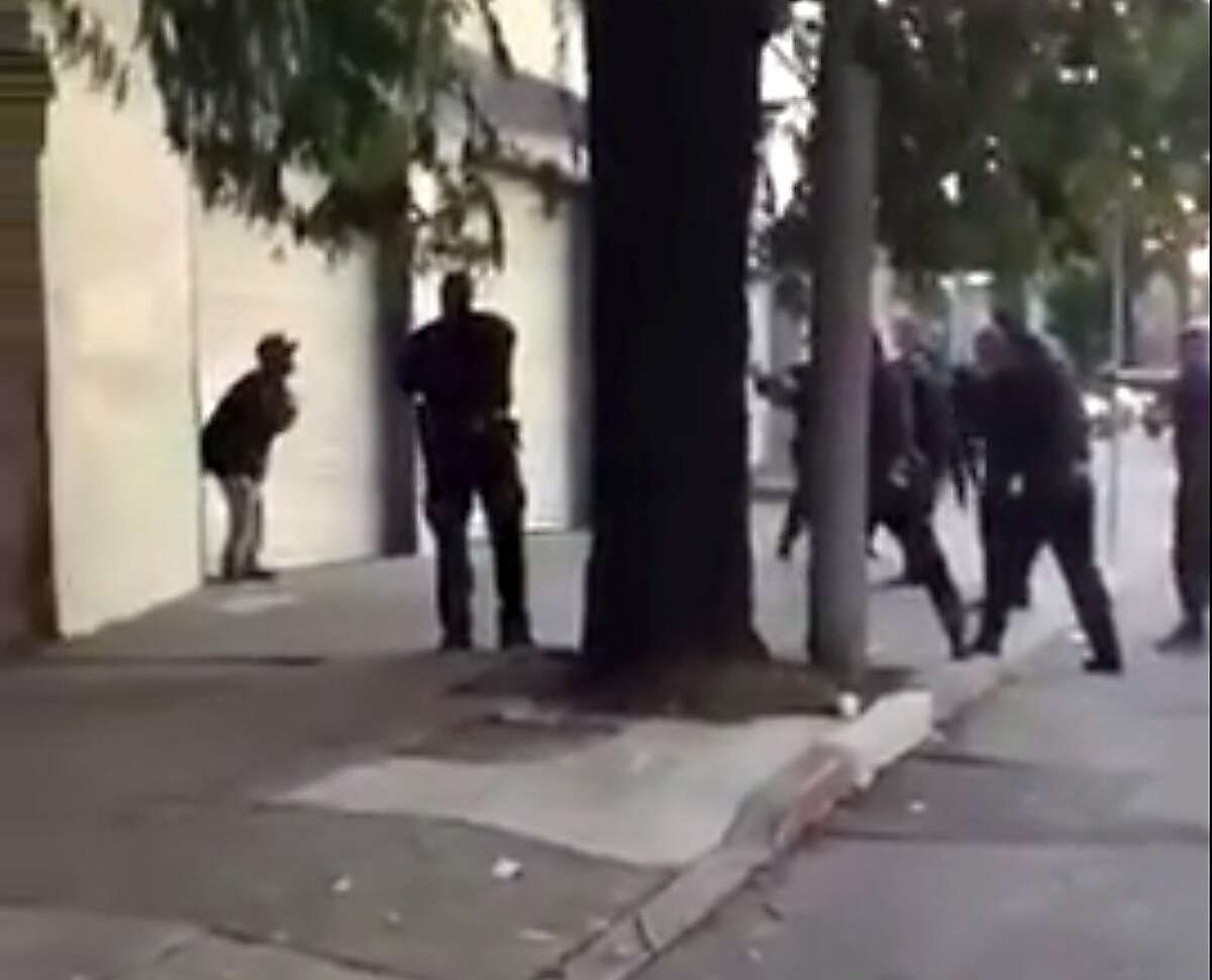 A frame grab from a video of the SFPD shooting of Mario Woods.