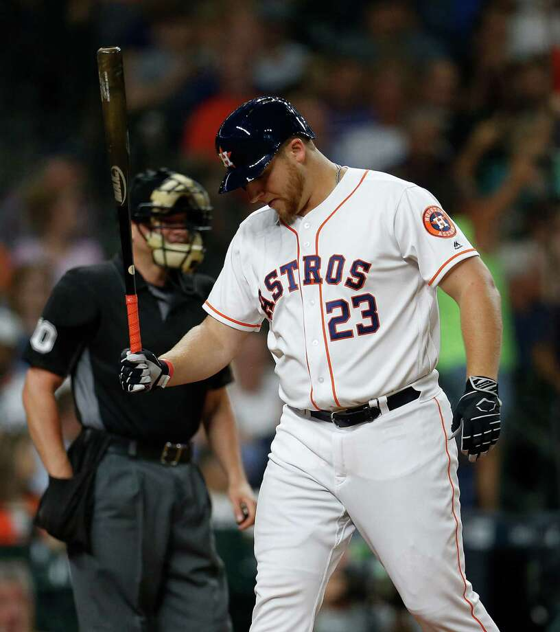 Houston Astros A.J. Reed (23) reacts after striking out during the seventh inning of an MLB baseball game at Minute Maid Park, Thursday, July 7, 2016, in Houston. Photo: Karen Warren, Houston Chronicle / © 2016 Houston Chronicle