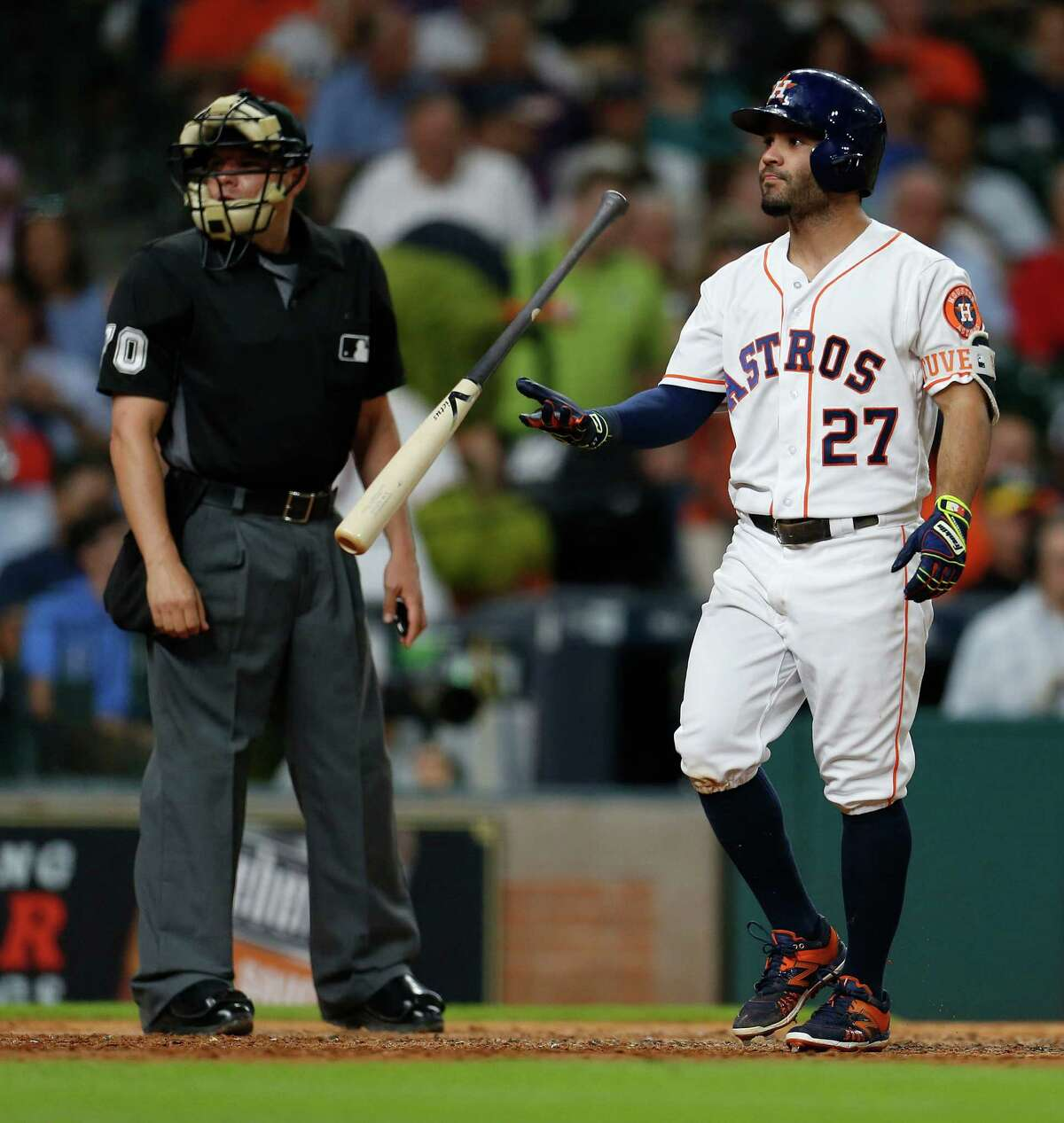 July 7: Athletics 3, Astros 1 Houston Astros Jose Altuve (27) reacts after striking out during the sixth inning of an MLB baseball game at Minute Maid Park, Thursday, July 7, 2016, in Houston.