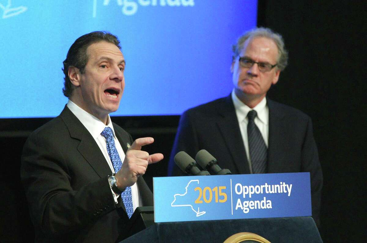 Gov. Andrew Cuomo with Howard Zemsky, president and CEO of Empire State Development, speak about the Upstate Revitalization Program which pledges 1.5 billion to upstate cities, Thursday, Jan. 15, 2015 in Rochester, N.Y. (AP Photo/Democrat & Chronicle, Jamie Germano)