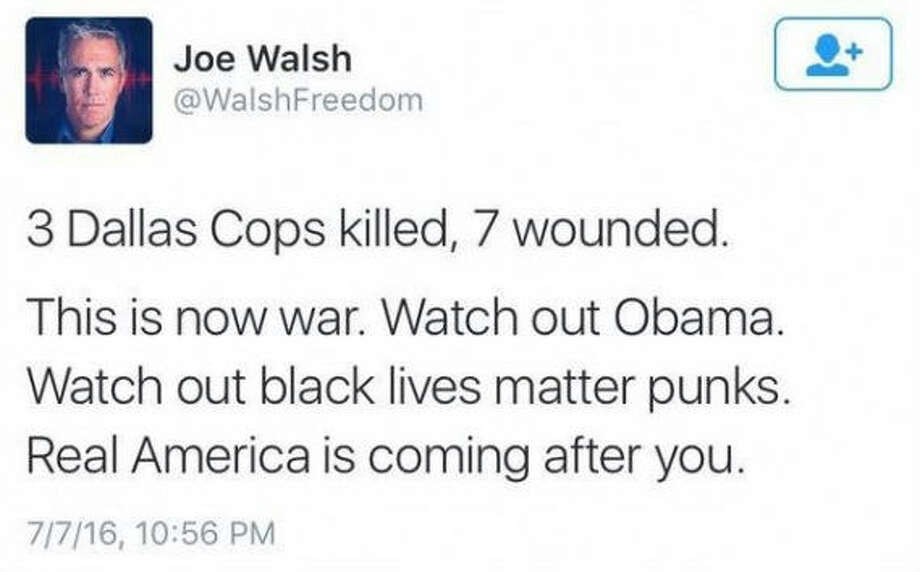 Syndicated radio host Joe Walsh, a former congressman from Illinois, was highly critical of President Barack Obama in a series of tweets sent out just as the sniper attacks began to unfold in Dallas, Thursday, July 7, 2016.