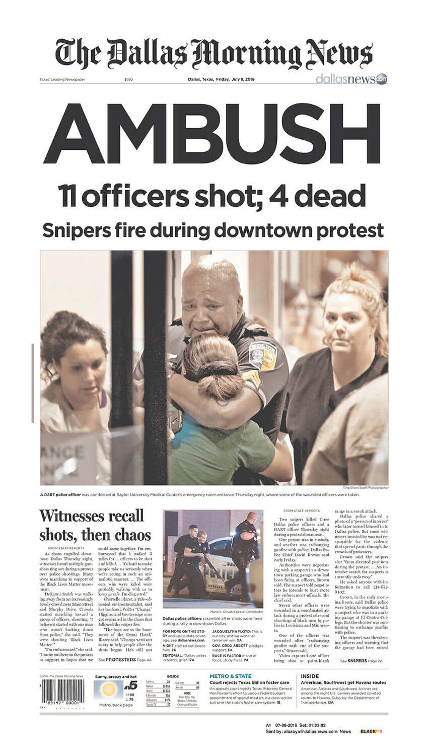 Newspaper front pages on July 8, 2016--the day after five Dallas Police Officers were shot dead in downtown by snipers.