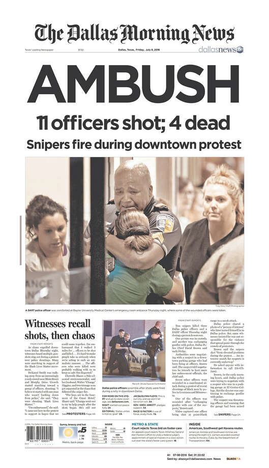 Newspaper front pages on July 8, 2016--the day after five Dallas Police Officers were shot dead in downtown by snipers. Photo: Courtesy/Newseum.org