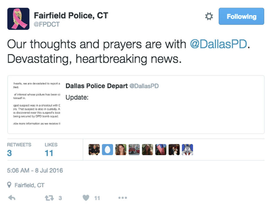 Local public safety officials reacted to the Dallas shooting Friday, July 8, 2016. Photo: Cp070816localreact, Twitter Screenshot / Connecticut Post