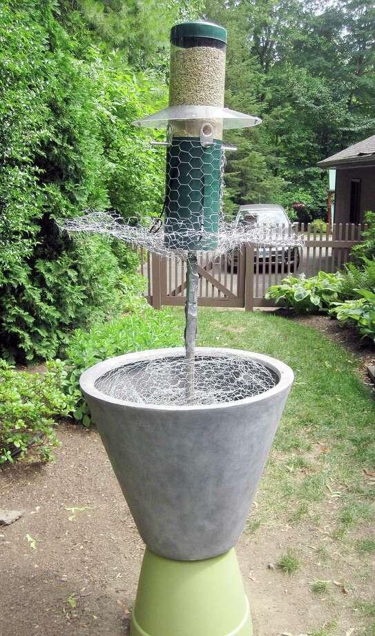 Columnist Ron Blumenfeld's bird feeder needed a skirt. Photo: Contributed Photo / Fairfield Citizen