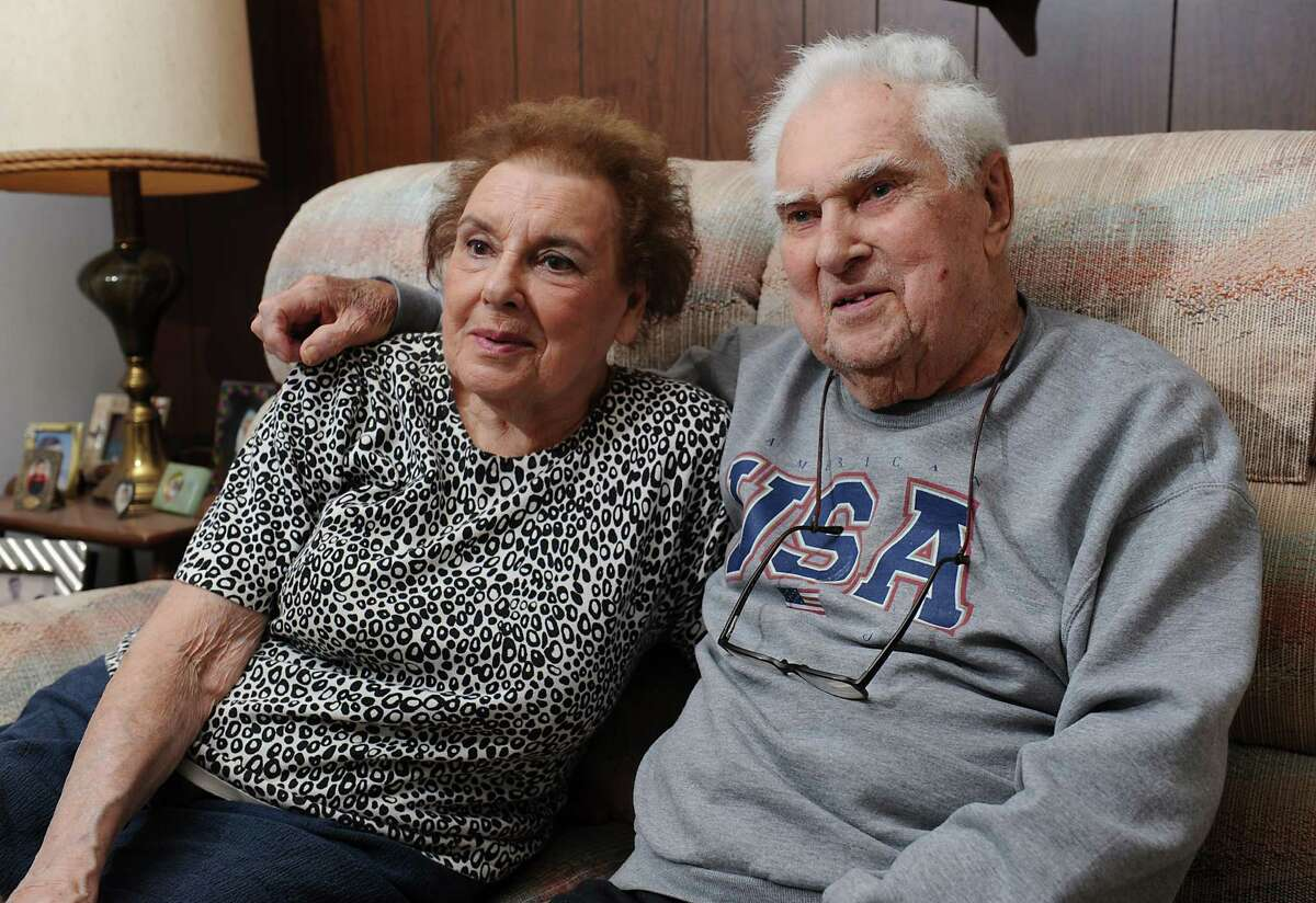 Joe & Eleanor Anthony sit on their couch at home on Tuesday, April 21, 2016 in Colonie, N.Y. Joe worked at Al Tech Steel and nearby Adirondack Steel. The couple would like to see the contaminated sites finally cleaned up. (Lori Van Buren / Times Union)