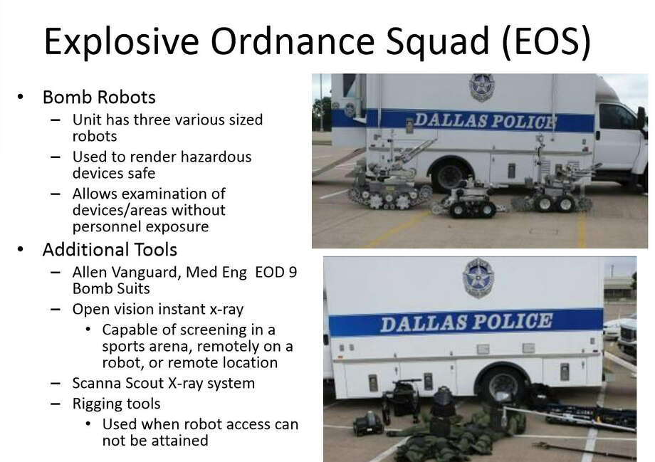 On Friday morning the Dallas Police Department said in a press conference that they killed a suspect in last night's sniper attacks on police in Dallas using a bomb disposal robot (likely similar to these) rigged with a device that they were able to detonate remotely.