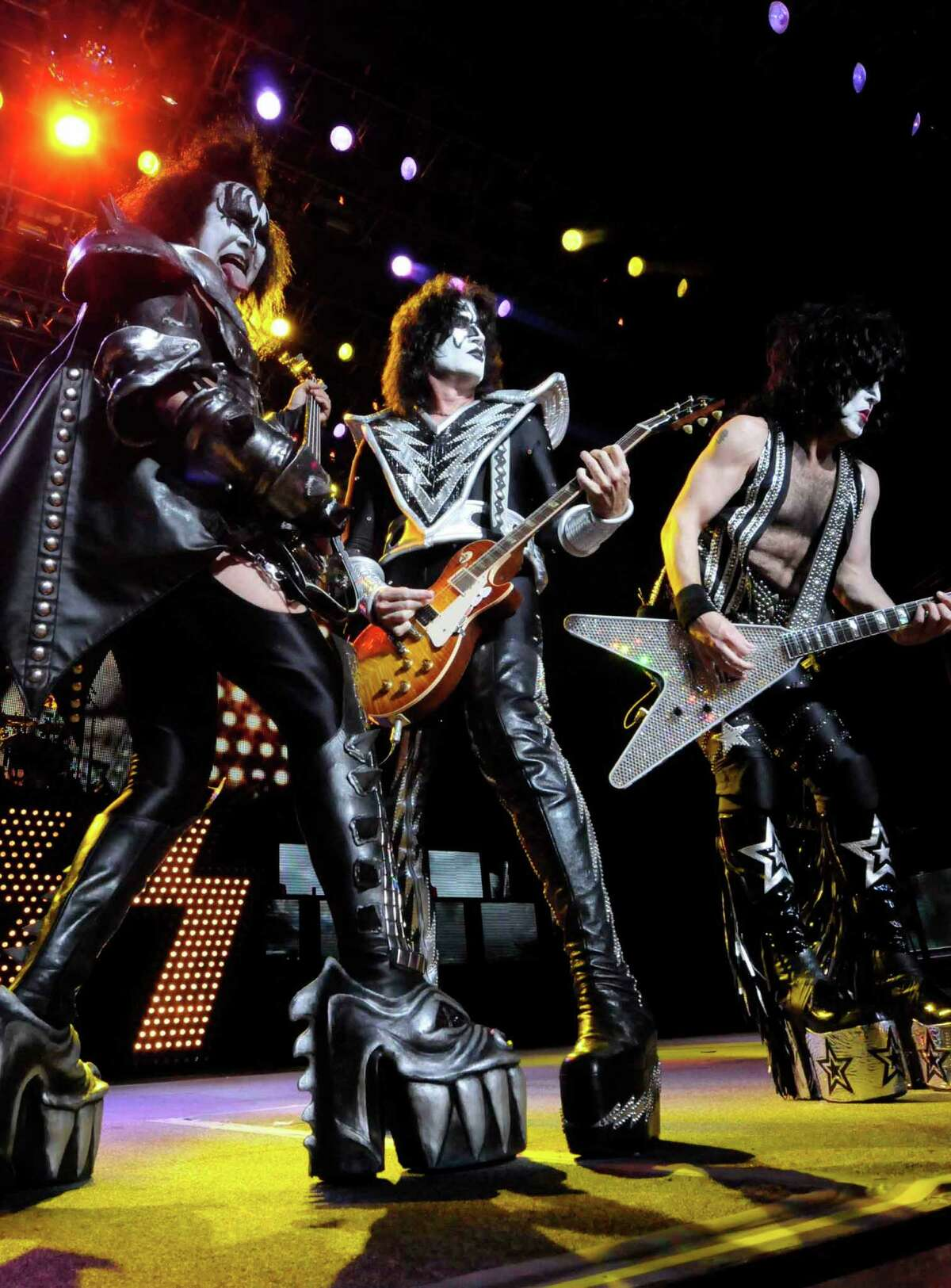 Gene Simmons sticks out his tongue in his classic fashion as Kiss performs at SPAC in Saratoga Springs, New York 8/17/2010. ( Michael P. Farrell / Times Union )